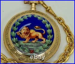 Antique Oriental 14k gold&enamel Union Horlogere pocket watch for Shah Mozzafar