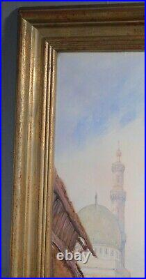 Antique Orientalist Painting Catano Great Mosque Islamic Architecture Cairo Art