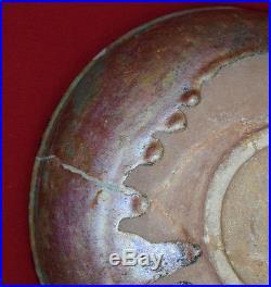 Antique Original 10-11th century Persian Islamic Kashun Glazed Ceramic Bowl