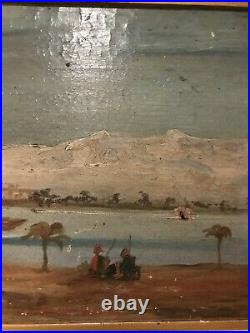 Antique Original Oil Painting Middle Eastern Desert Scene Signed Pascal GC