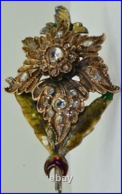 Antique Ottoman 8k gold, silver, Enamel&Rose Cut Diamonds Hat Pin in original box