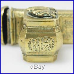 Antique Ottoman'Qalamdan Divit', Brass Travel Pen/ Ink Case