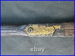 Antique Ottoman Turkish Calligrapher Iron Gold Inlaid Scissors Arabic Islamic
