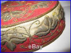Antique Ottoman Turkish Persian Fes Hat Cap Metallic Silver Gold Embroidery Rare