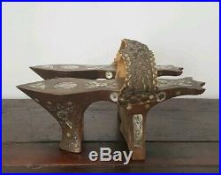 Antique Ottoman Turkish Wood Mother of Pear Silver Thread Bath Hamam Clogs Shoes