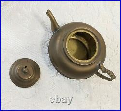 Antique PERSIAN SAMOVAR Brass Stamped + Teapot + Tray + Drip Bowl