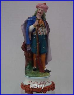Antique Paris Porcelain Figure Turkish Ottoman Soldier with Dagger & Gun 19th c