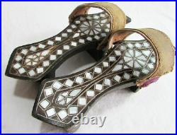 Antique Pearl inlaid OTTOMAN Pair Clogs Turkish Woman Hamam Shoes Naln Sandals