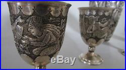 Antique Persian 84 Silver Cocktail Shaker set Withcups Isfahan 938 gram sanatipour