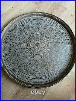 Antique Persian Brass Tray Mythical Creatures COLLECTABLE TRAY HEAVY 5 KILOS