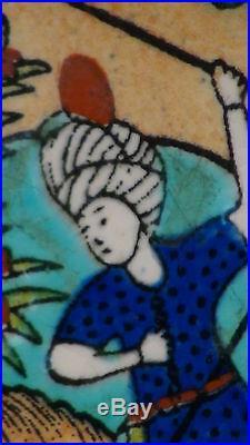Antique Persian Ceramic Hand Painted Tile Big Polo Game Scene Qasar Islamic Art