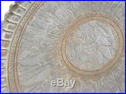 Antique Persian Engraved Tinned Copper Large Tray Ahora Madza King Animals 26