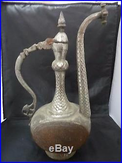 Antique Persian Ewer circa. 1860 Copper Middle Eastern Water Jug ISFAHAN