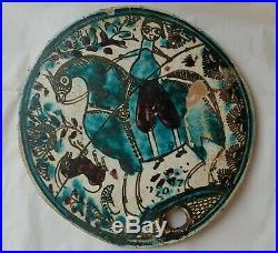 Antique Persian Hand Painted Ceramic Beehive Cover Scarce Islamic Folk Art (2/2)