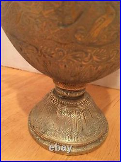 Antique Persian Heavy Brass Repousse and Engr. Vessel