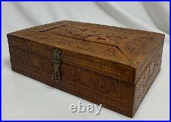 Antique Persian Islamic Carved Wood Box 13x9 35x23cm 59782