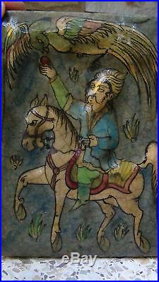 Antique Persian Islamic Qajar Pottery Glazed Tile Hunter On Horse And Phoenix