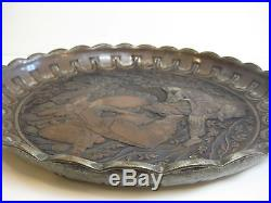 Antique Persian Middle East Detail Hand-Chased Copper Tray, Very Rare Heavy, 19