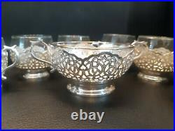 Antique Persian/Middle East Handmade 84% Silver Tea glass cup holders&Sugar bowl