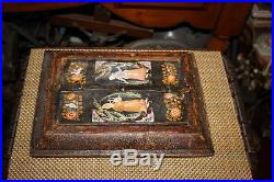 Antique Persian Middle Eastern Hand painted Shadowbox Mirror Window-Man Woman