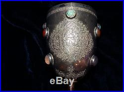 Antique Persian Middle Eastern sterling silver covered cup goblet 6.2 stone set