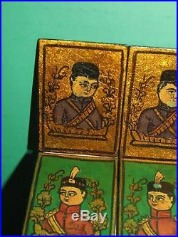 Antique Persian Miniature Painting Group Lacquer Playing Cards Game Pieces