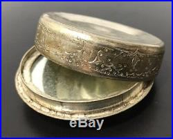 Antique Persian Mother of Pearl Hand Painted Snuff Box Compact Mirror Warrior