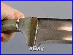 Antique Persian Mughal Dagger Knife with Jade Handle & Damascus Blade, NR