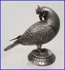 Antique Persian Ottoman Chinese Middle Eastern Heavy Silver Dove Bird Figure