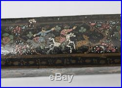 Antique Persian Papier Mache Lacquer Qalamdan Scribes Box People on Horseback