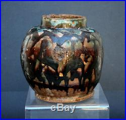 Antique Persian Pottery Vase In Chinese Tang Style Islamic Drip Glaze