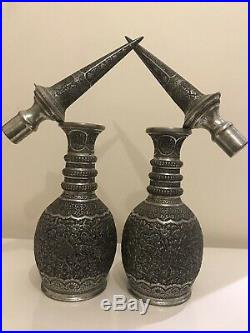Antique Persian Qajar Middle Eastern Islamic Copper Vases Ghalam Zani