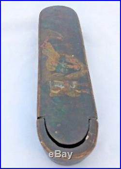Antique Persian Qajar Qalamdan Pen Box Hand Painted Lacquer c1860 Two Later Pens