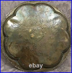 Antique Persian Qajar Round Brass Tray
