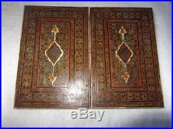 Antique Persian Qajar Wooden Micro Mosaic Inlay Mirror Case