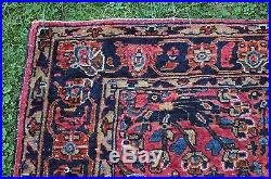 Antique Persian Sarouk, Hand Woven Wool Middle Eastern Carpet Rug, NR