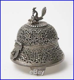 Antique Persian Silver Pierced Floral Scroll Design Incense Burner Bird Mount