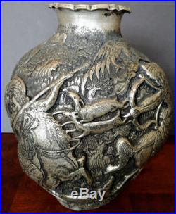 Antique Persian Silver Plated 3-D Repousee'd Etched Nobleman Hunt Scenes OLD