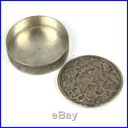 Antique Persian Silver Trinket Case Box Engraved with Flowers & Love Birds with Lid