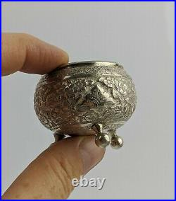 Antique Persian Silver salts Exceptional Quality Carved Birds & Flowers 95.7G