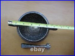 Antique Persian Style Middle Eastern Handmade Solid Silver Sugar Bowl & Tongs