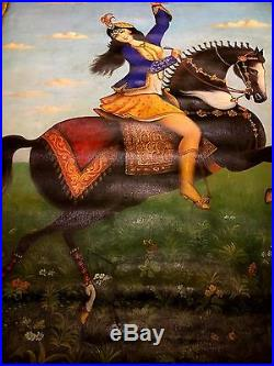 Antique Qajar Oil Painting on Large Canvas Islamic Persian Art Lady on Horse
