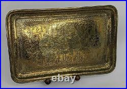 Antique Qajar Persian Brass tray 19th century Superb Detail Islamic SIGNED