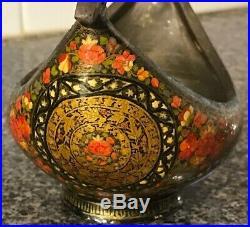 Antique Qajar Persian Hand Painted On Copper Kashkul Beggar's Bowl Dervish