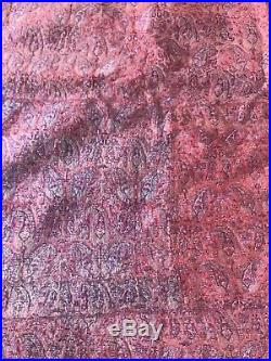 Antique Qajar Termeh Table cloth Paisley Silver Embroidery 46 X 32 in