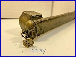 Antique / Rare Persian Traveling Writing kit Quill Carrier with Ink Well Brass