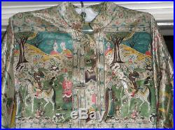 Antique Safavid Persian Silk Brocade Pictorial Coat Jacket