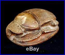 Antique Scarab Egyptian Ancient Bead Stone Carved Amulet Antique Nile Mummy art