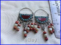 Antique Silver Earrings Tribal Bukhara Coral And Mother Of Pearl Exotic