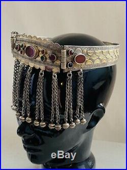 Antique Silver Gold Carnelian Yomut Tekke Turkmen Turkoman Tribal Crown 19th C